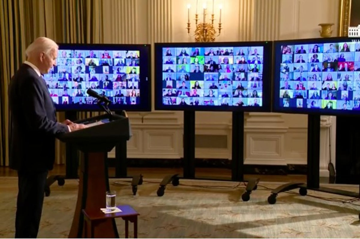 President Biden Swore In Hundreds Of Appointees On A Zoom Call With A Big Warning