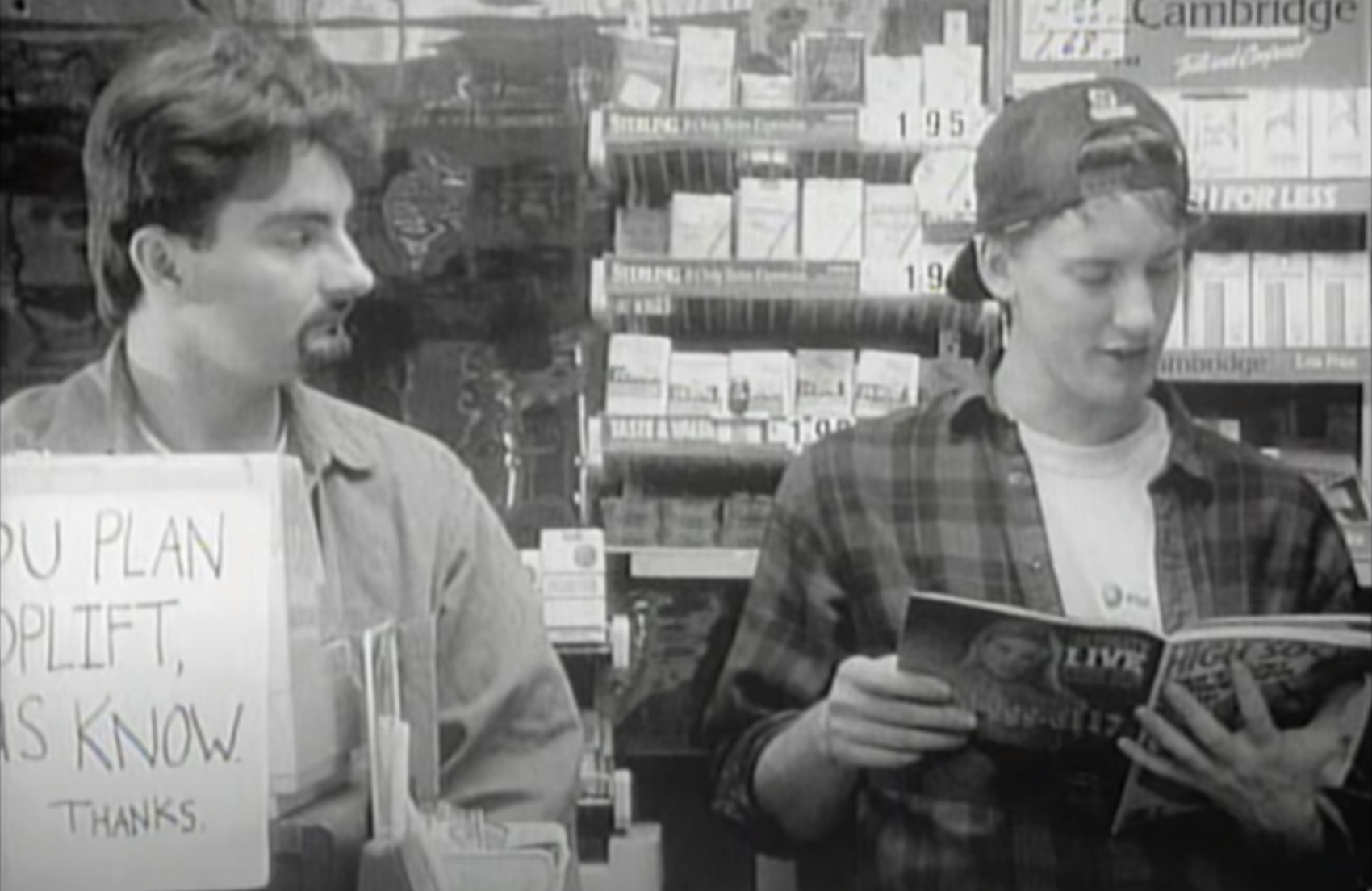 Dante and Graves behind the counter in Clerks