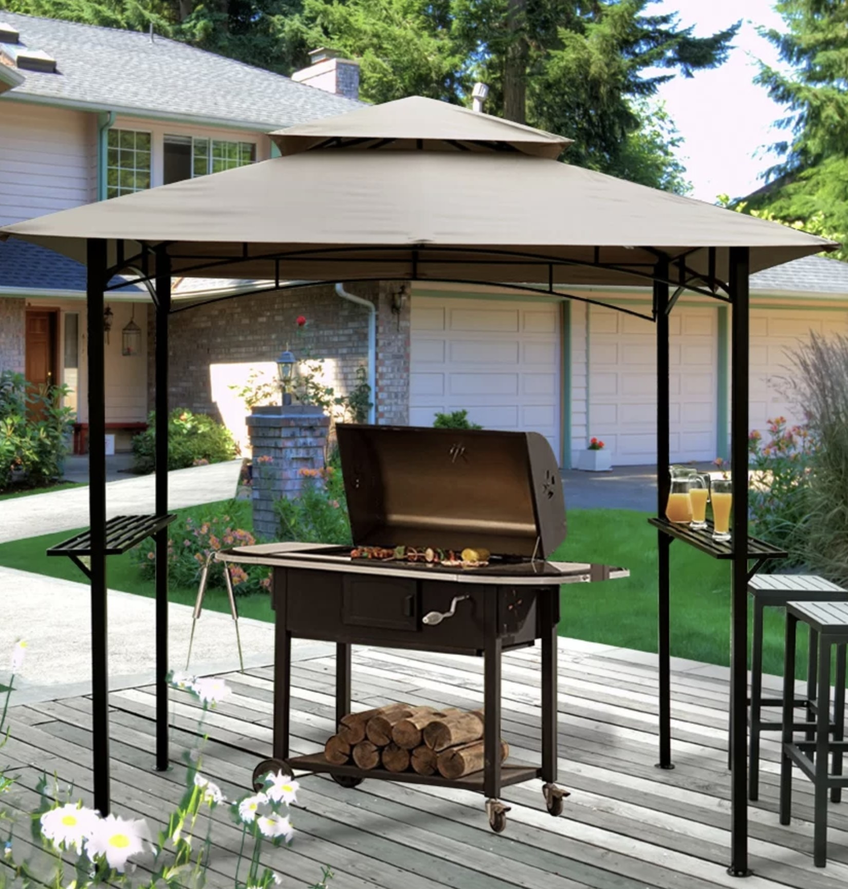 the grill gazebo with a grill underneath it