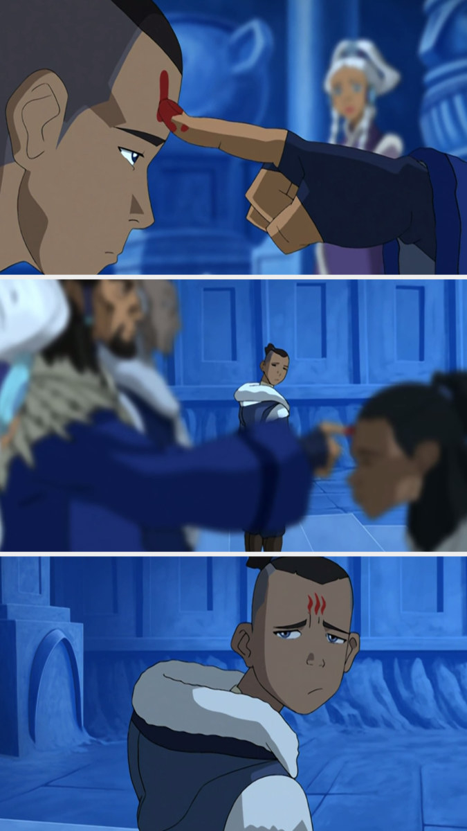 Sokka gets the warrior mark, then his forehead has no mark on it, then it has a mark on it again
