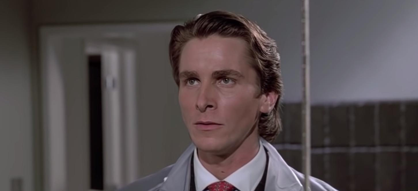 "Christian Bale as Patrick Bateman in the movie ""American Psycho."""