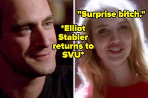 """Chris Meloni as Elliot Stabler in the show """"Law and Order: SVU"""" and Emma Roberts as Madison Montgomery in the show """"American Horror Story."""""""