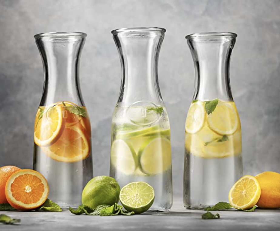 glass pitchers with fruit waters
