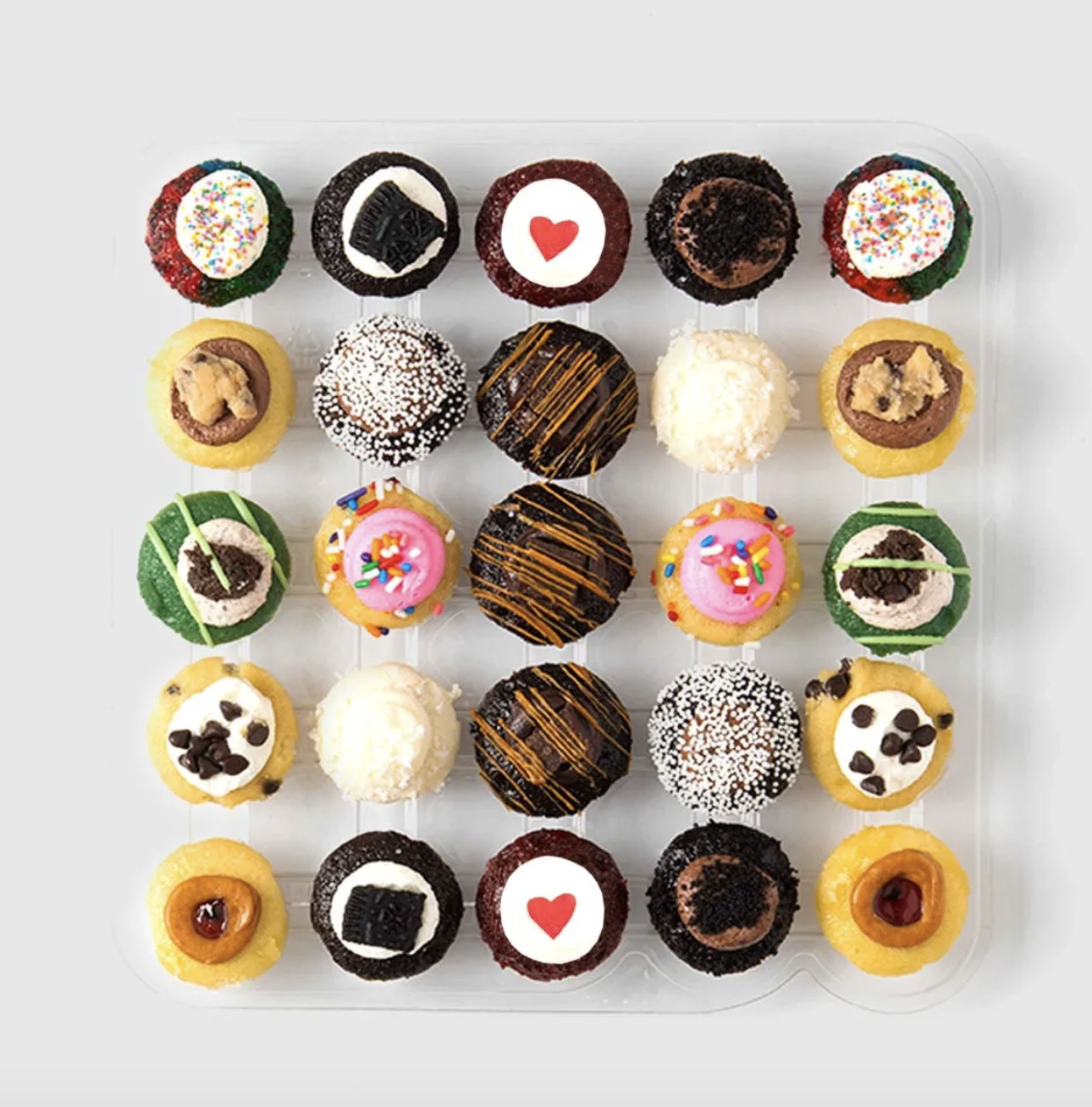 A tray of 25 miniature cupcakes