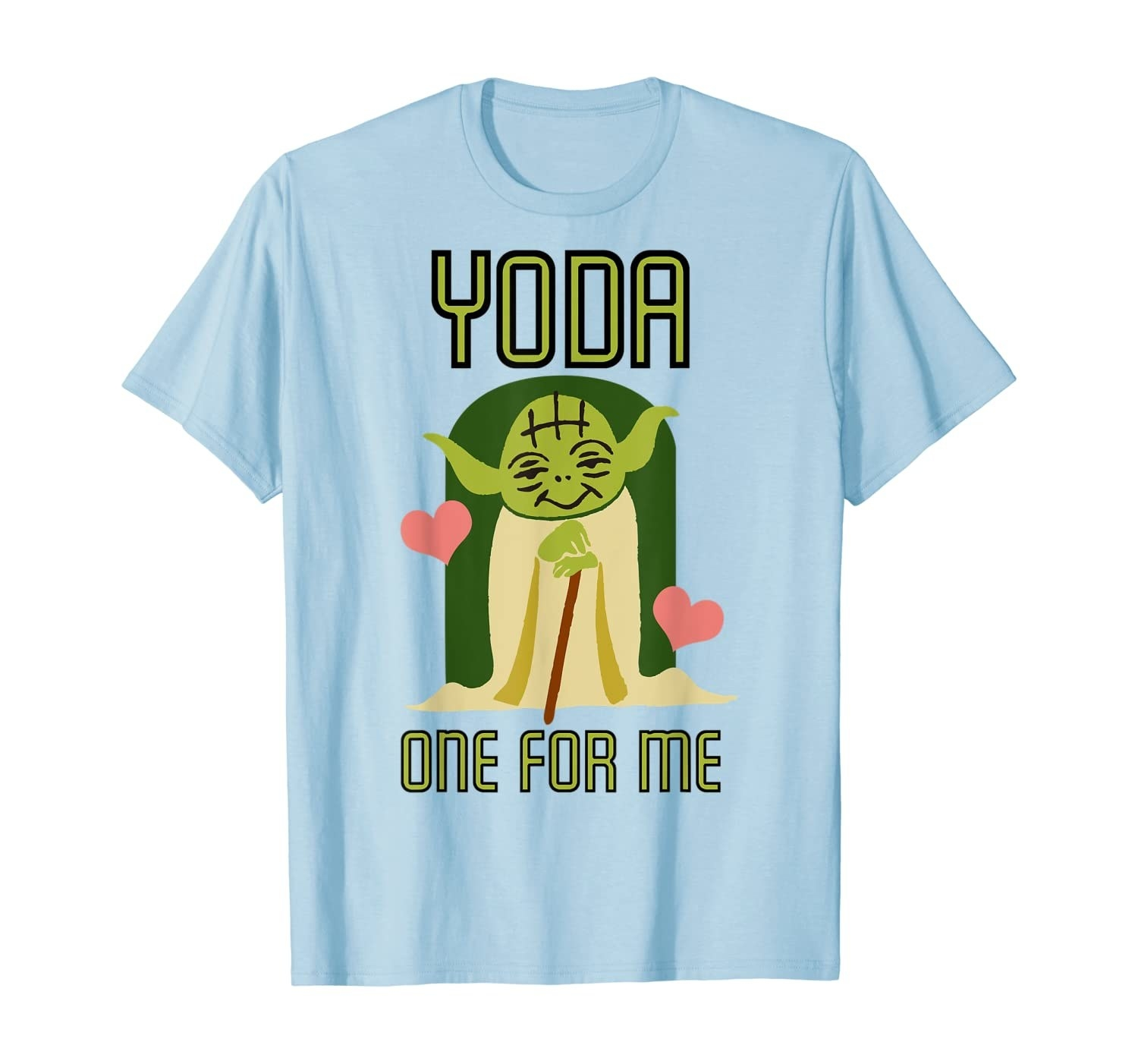 "The blue shirt which has a Yoda illustration and says ""Yoda one for me"""