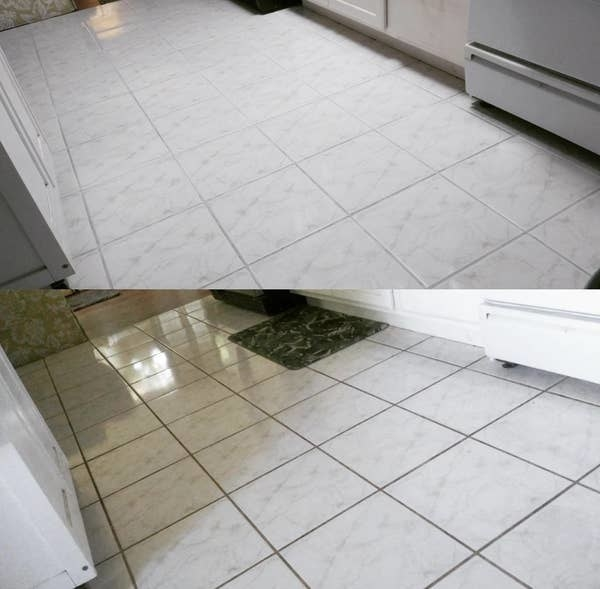 the bottom photo showing a reviewer's tiles looking dirty from grout and the top photo, the tiles clear of the grout after using the pen