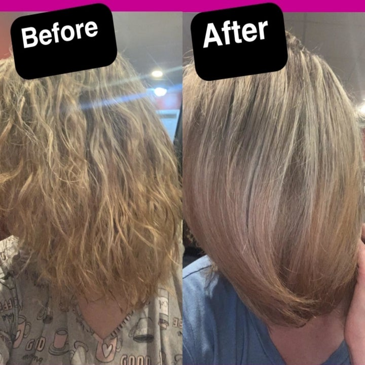Another reviewer showing before and after using the hot brush