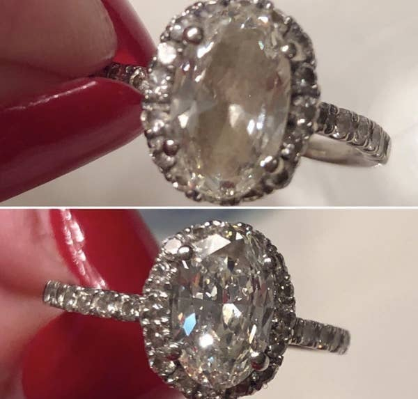 on top, a reviewer's diamond ring looking fogged up, and on the bottom, the same diamond now looking clear and shiny