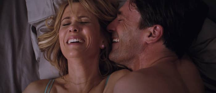 """Kristen Wiig and Jon Hamm laughing while having sex in the opening scene of """"Bridesmaids"""""""