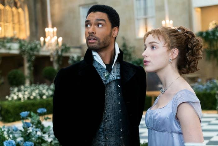 "Regé-Jean Page and Phoebe Dynevor as Simon and Daphne in ""Bridgerton"""