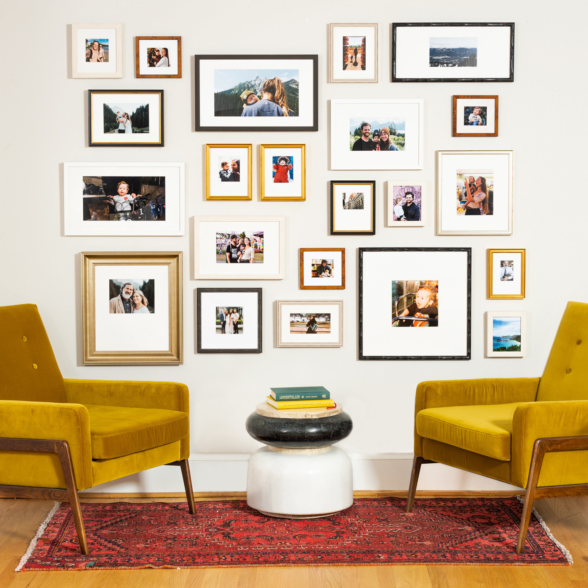 A gallery wall with various styles of frames