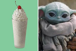 On the left, a cookies and cream milkshake from Chick-fil-A, and on the right, Baby Yoda looking up sweetly