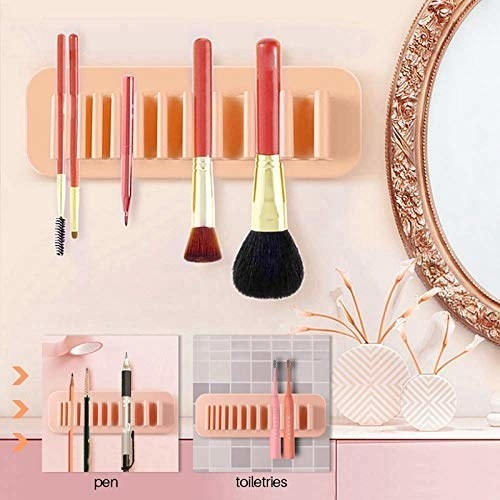 Silicone rack used to hold makeup brushes, toiletries, and pens.