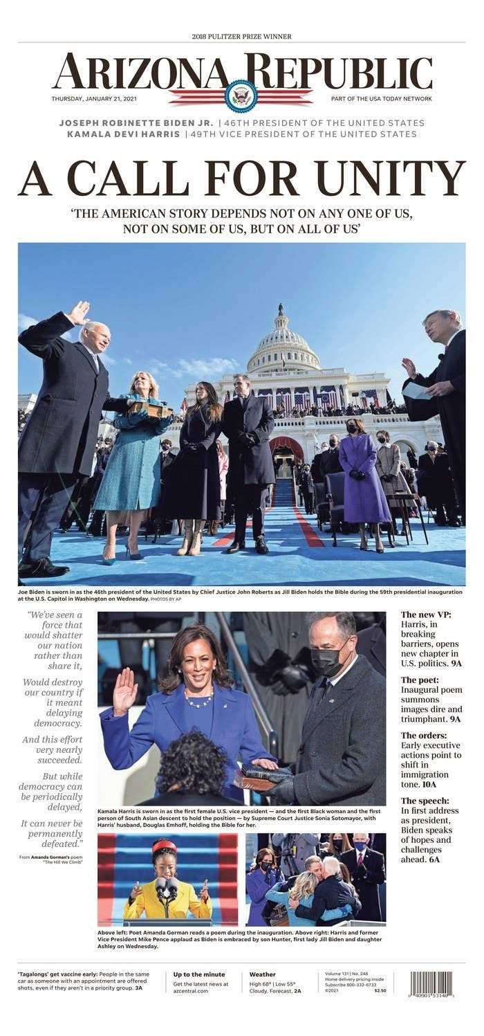 Newspapers Across The World Hailed Joe Biden's Inauguration