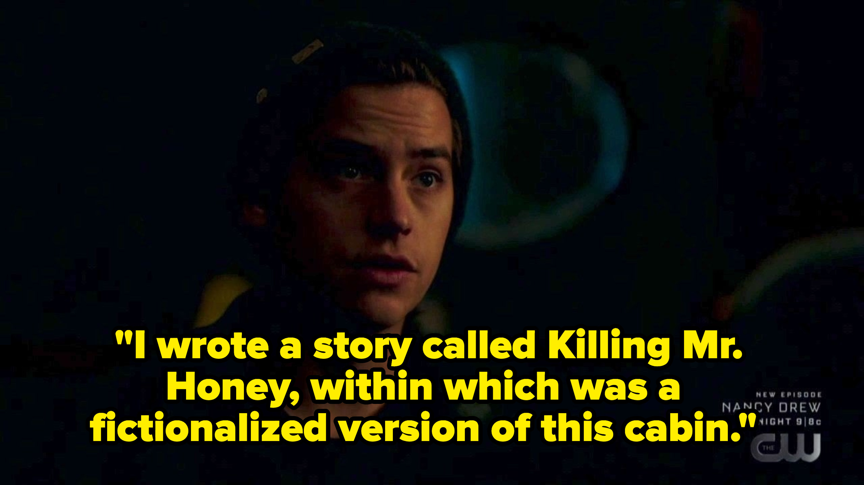 Jughead talking about writing a fictionalize story about killing mr. honey