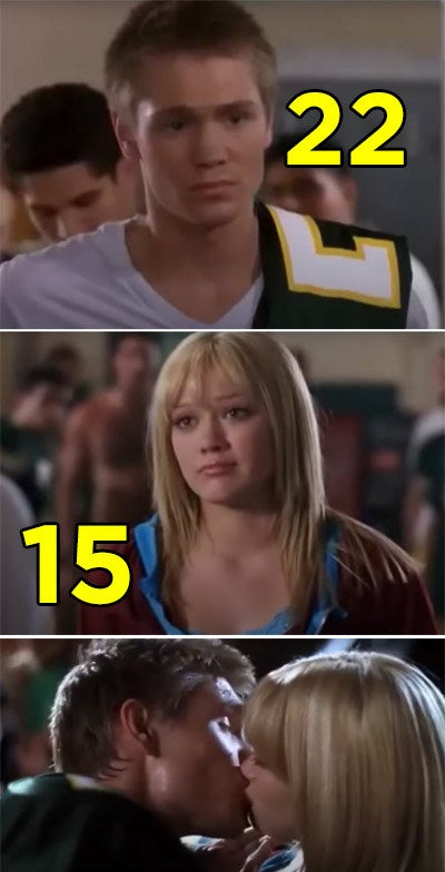 """Hilary Duff and Chad Michael Murray kissing in """"A Cinderella Story"""""""