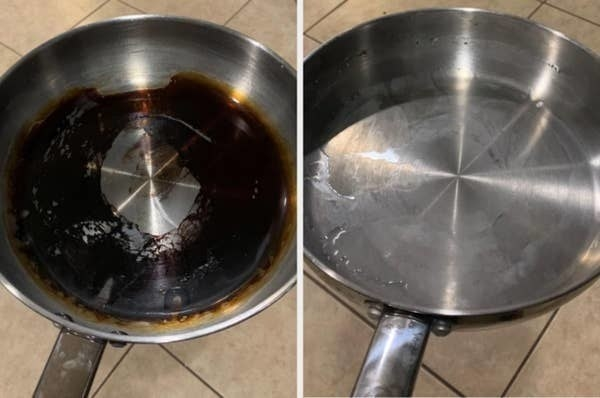 on the left, a reviewer's pan looking burnt, and on the right, the same pan now completely clean and shiny again