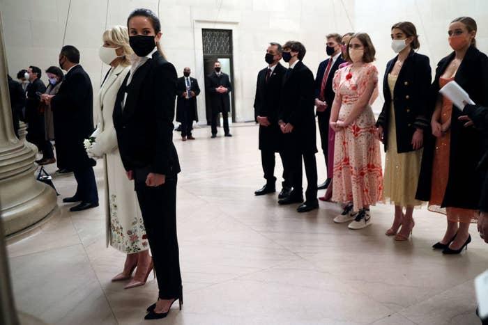Ashley Biden standing next to First Lady Dr. Jill Biden at the Lincoln Memorial