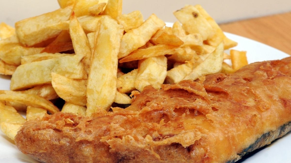 battered cod with chips.