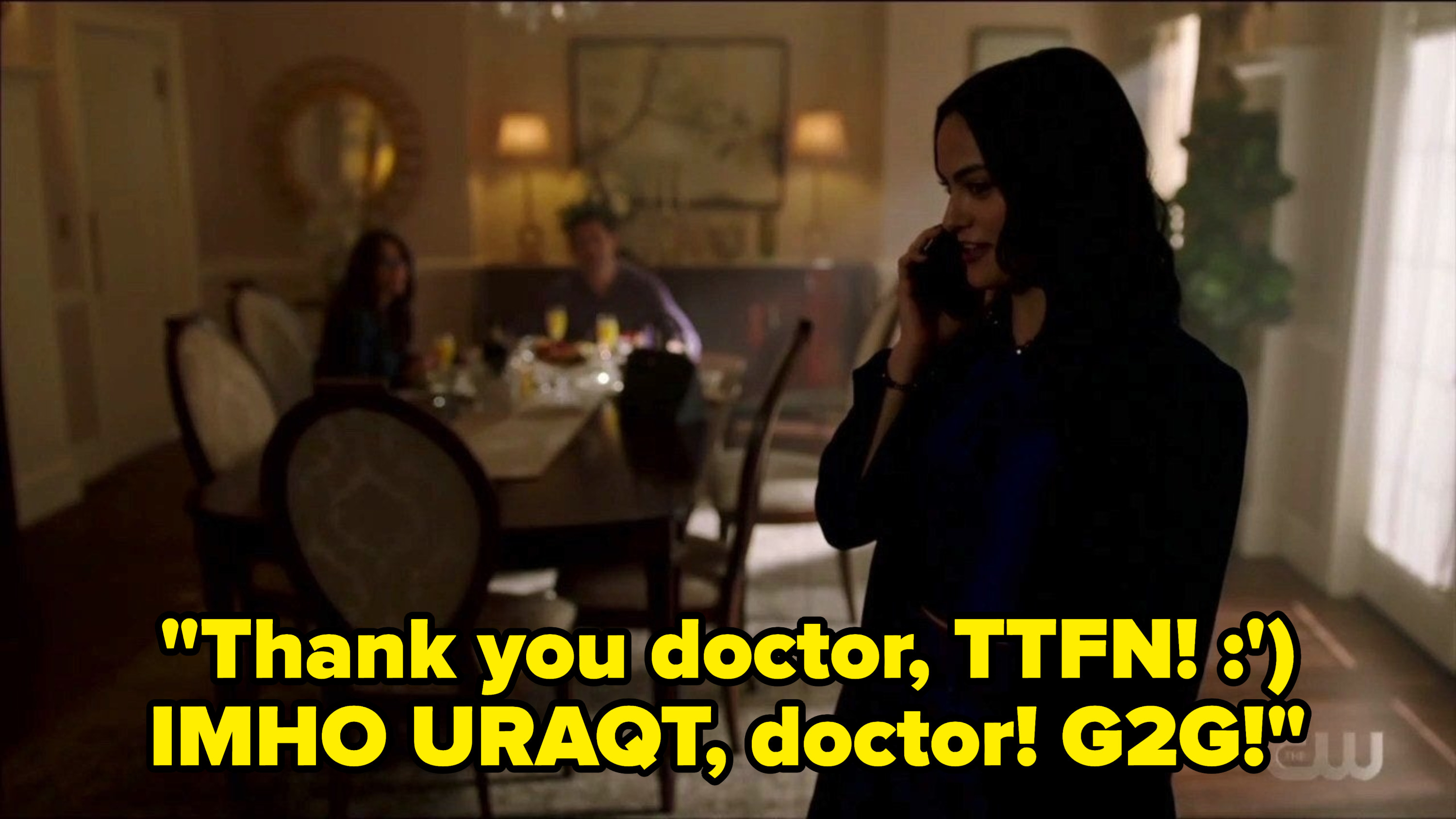 Veronica talking to the doctor with internet lingo