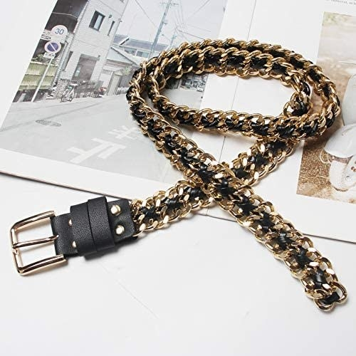 the gold alaix metal chain belt