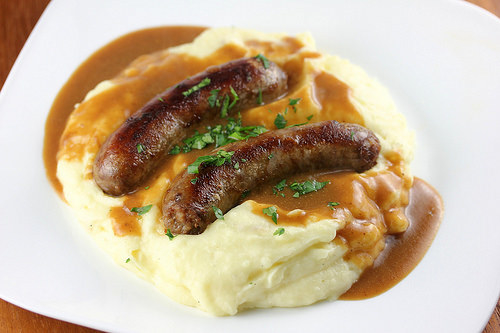 Sausage and mashed potato.