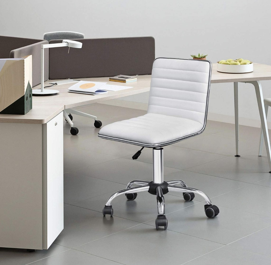 The rolling office chair in white