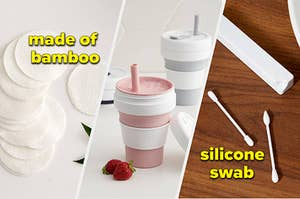 bamboo cotton rounds, reusable tumbler, and silicone swabs