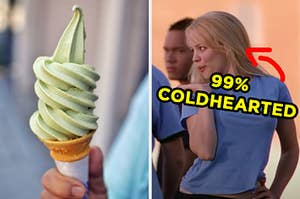 """On the left, someone holding a matcha ice cream cone, and on the right, Regina George blowing a kiss with an arrow pointing to her and """"99% coldhearted"""" typed under her face"""