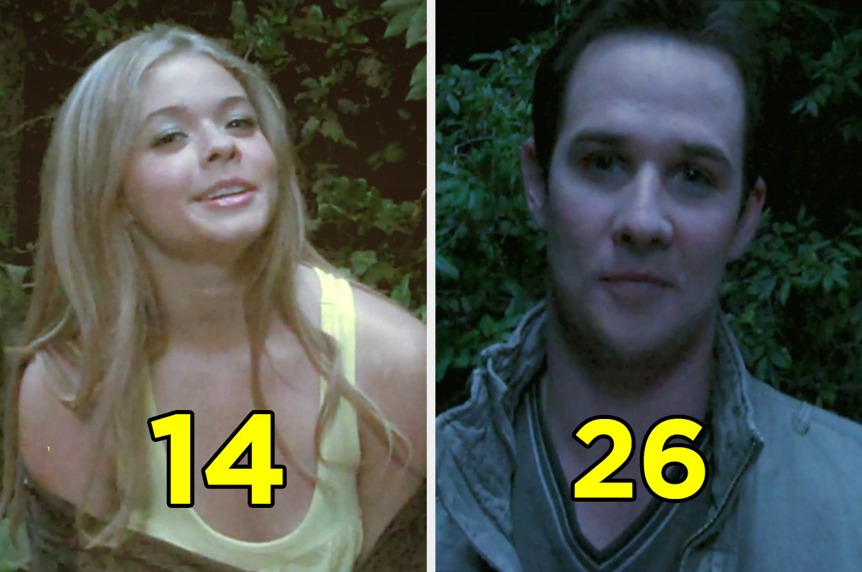 """Sasha Pieterse and Ryan Merriman in the woods for a scene in """"Pretty Little Liars"""""""