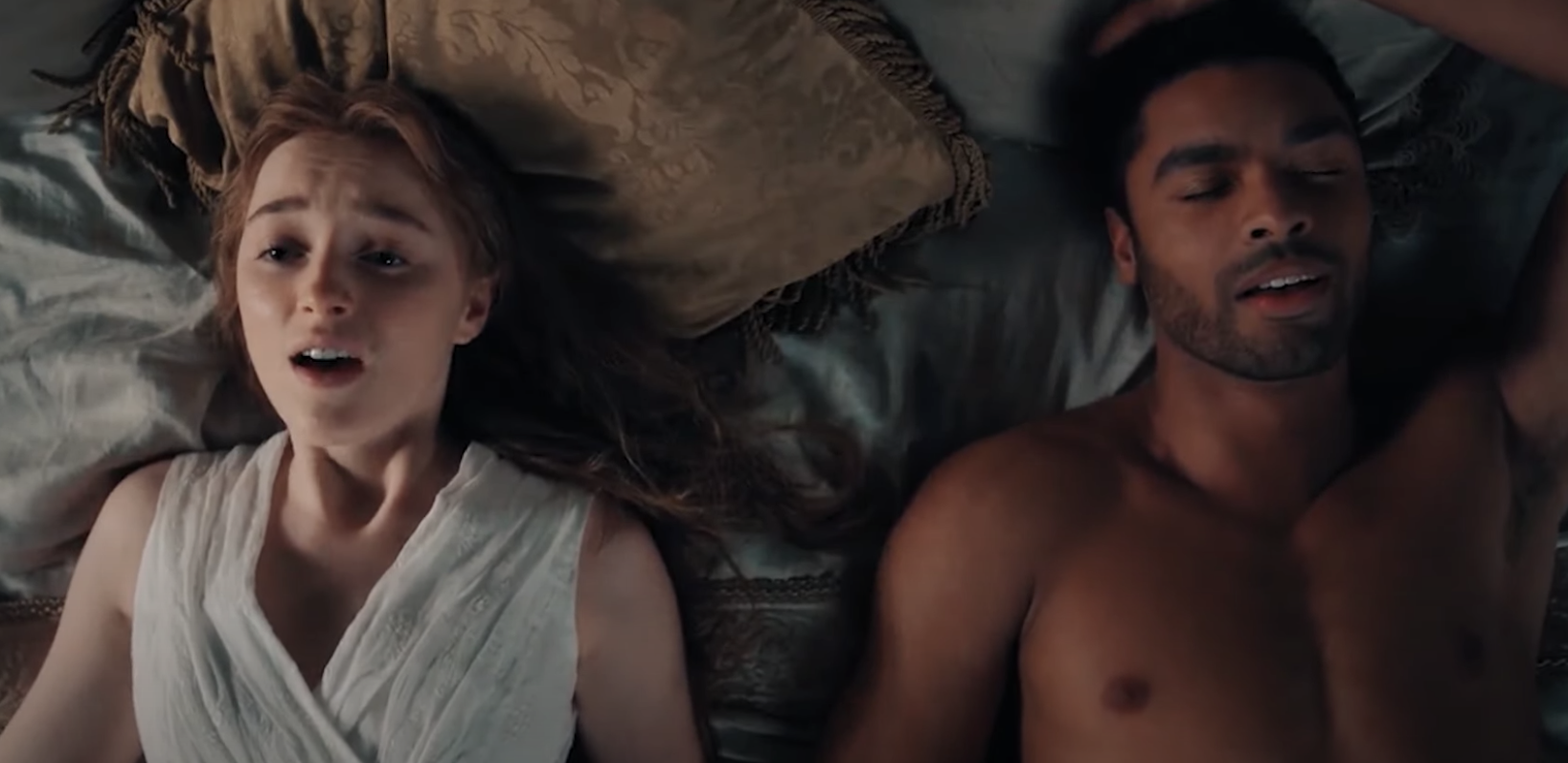 """Regé-Jean Page and Phoebe Dynevor in bed after having sex in """"Bridgerton"""""""