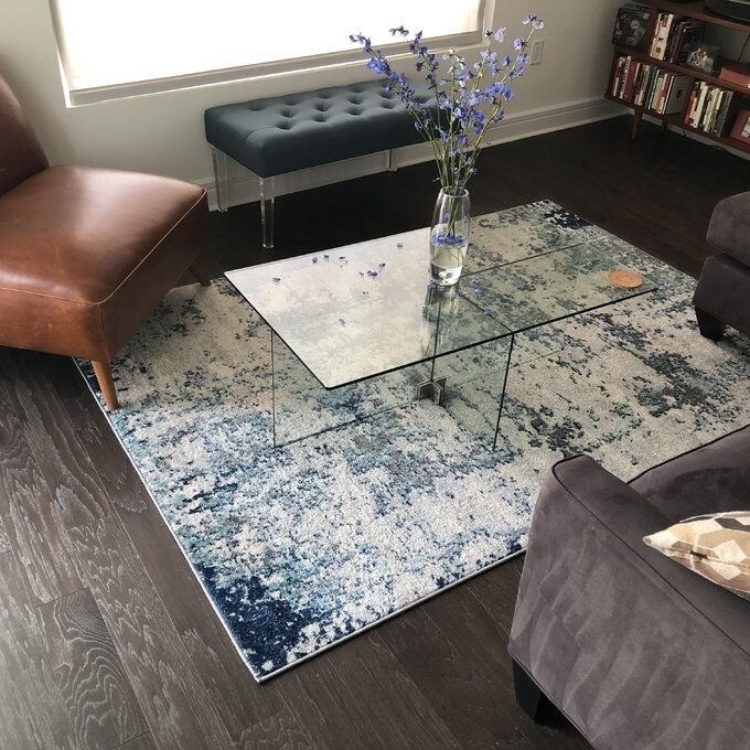 Reviewer's picture of the glass table