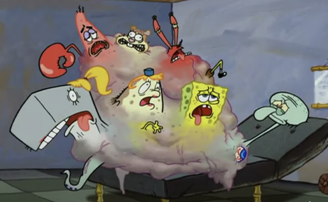 Squidward with everyone fused to his body in a lump
