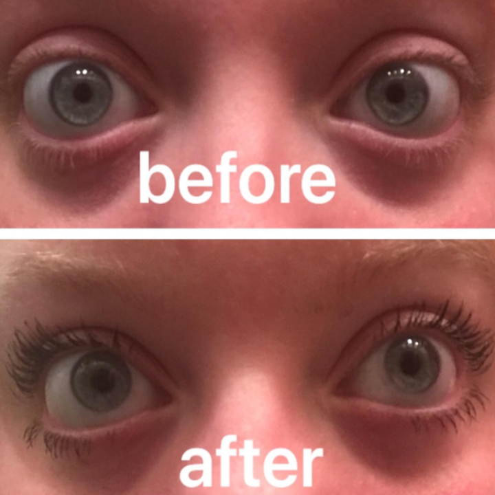 on top, a reviewer before applying the mascara, and on the bottom, the same reviewer's lashes looking naturally long after using the mascara