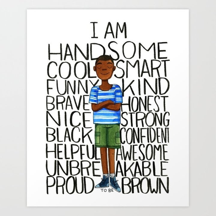 """a colorful animated Black kid with words around them that says, """"I am handsome, cool, smart, funny, kind, brave, honest, nice, strong, black,"""" etcetera"""