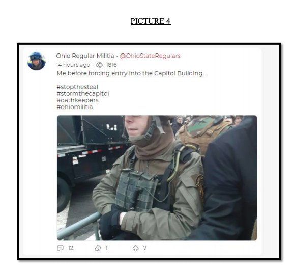 "Social media post with a picture of a person in military gear with text ""Me before forcing entry into the Capitol Building"""