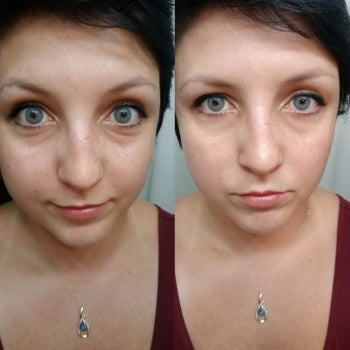 on the left a reviewer with some undereye bags, on the right the same reviewer with their undereyes looking brighter