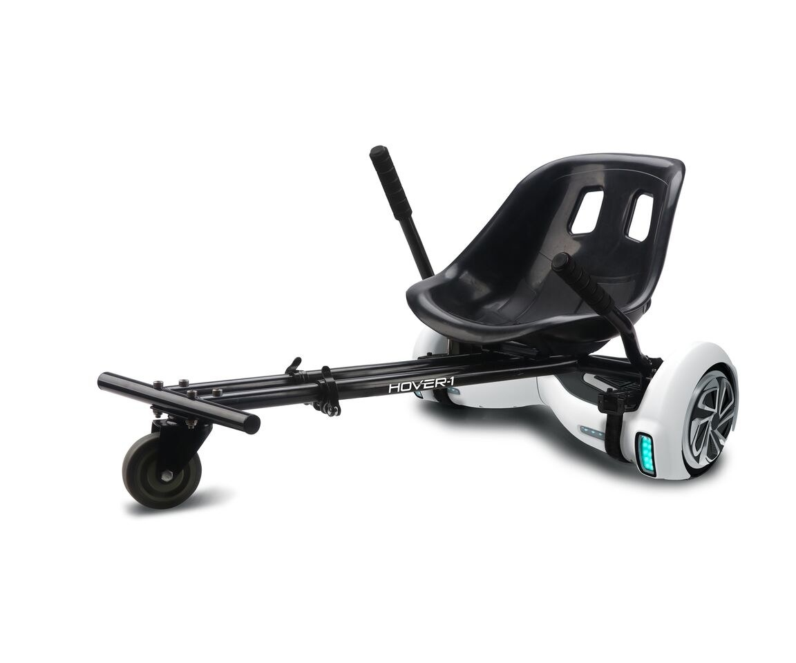 black buggy attachment on a white hoverboard