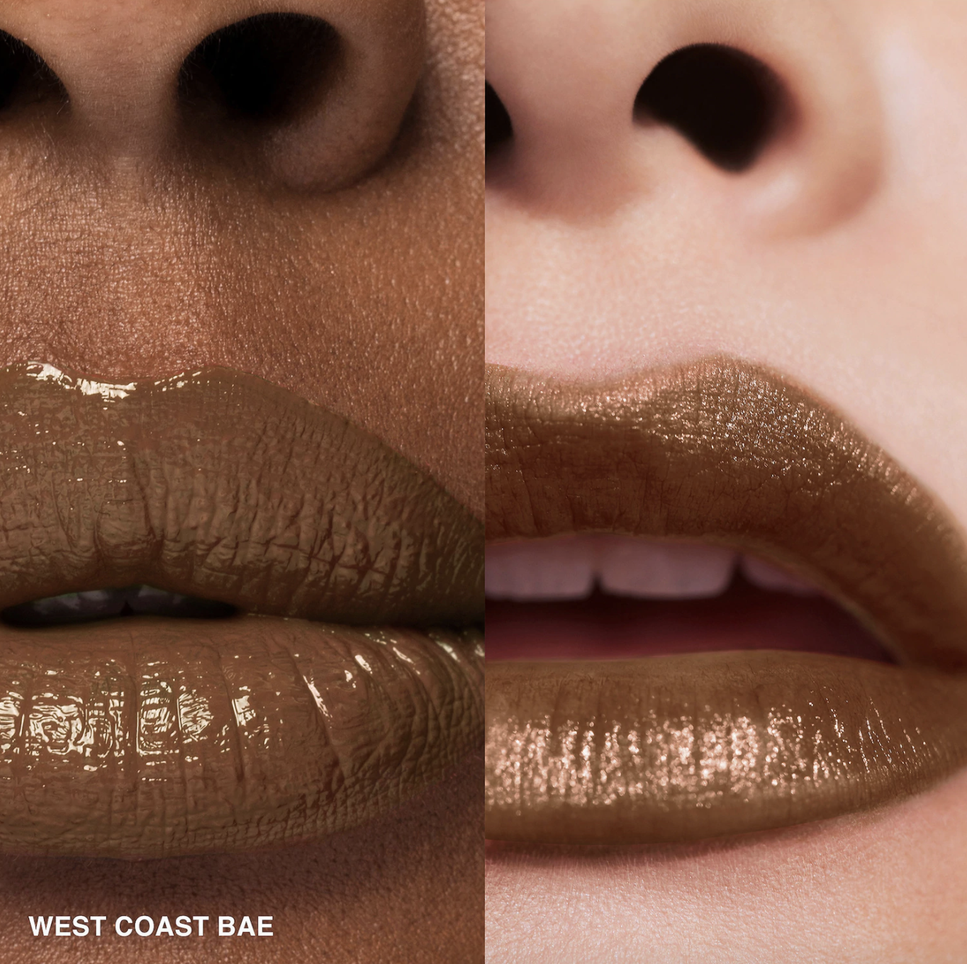 side by side images of west coast bae crushed liquid lipstick on a black model and on a white model