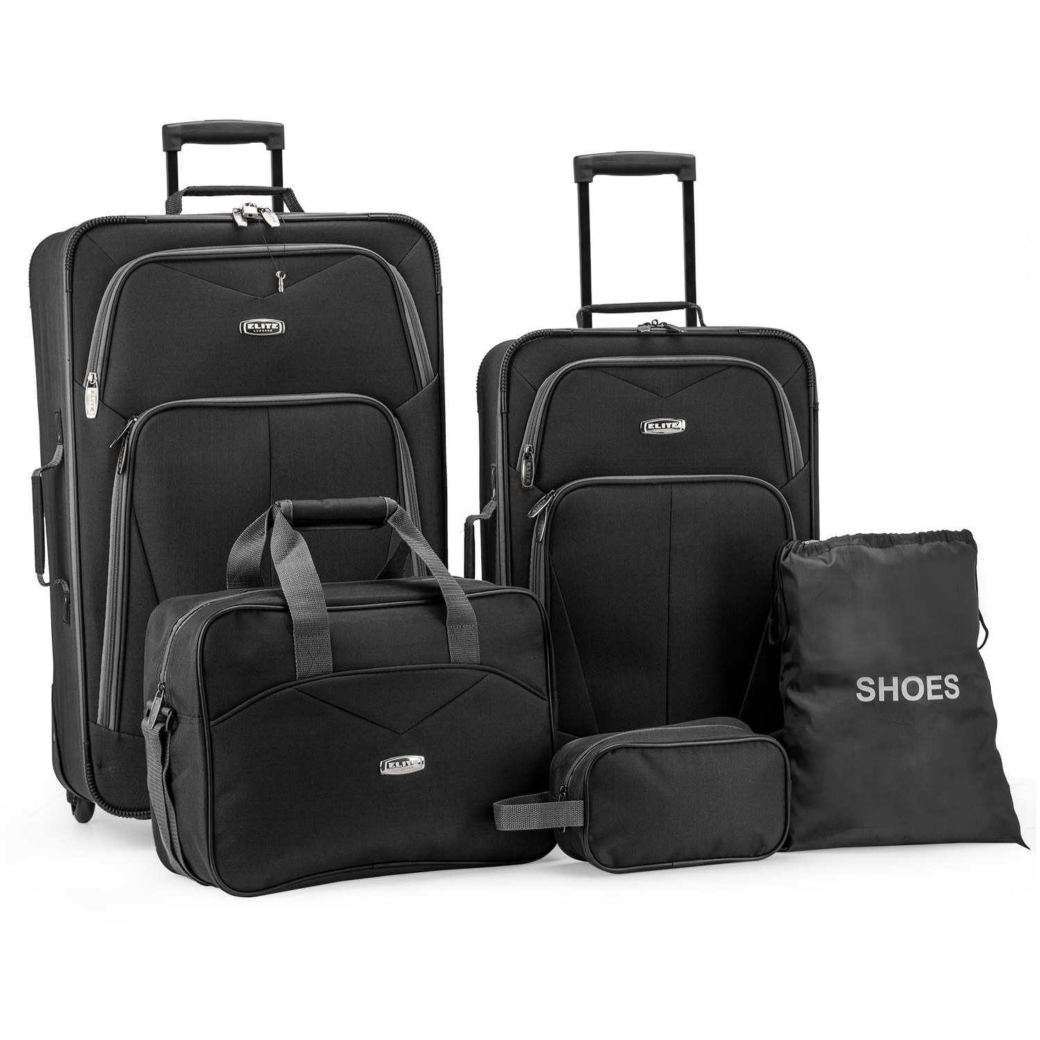 set of black luggage in various sizes