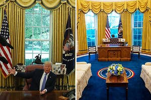 Trump's Oval Office, and Biden's Oval Office