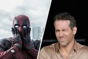 Deadpool making a shocked face next to Ryan Reynolds posing on a red carpet