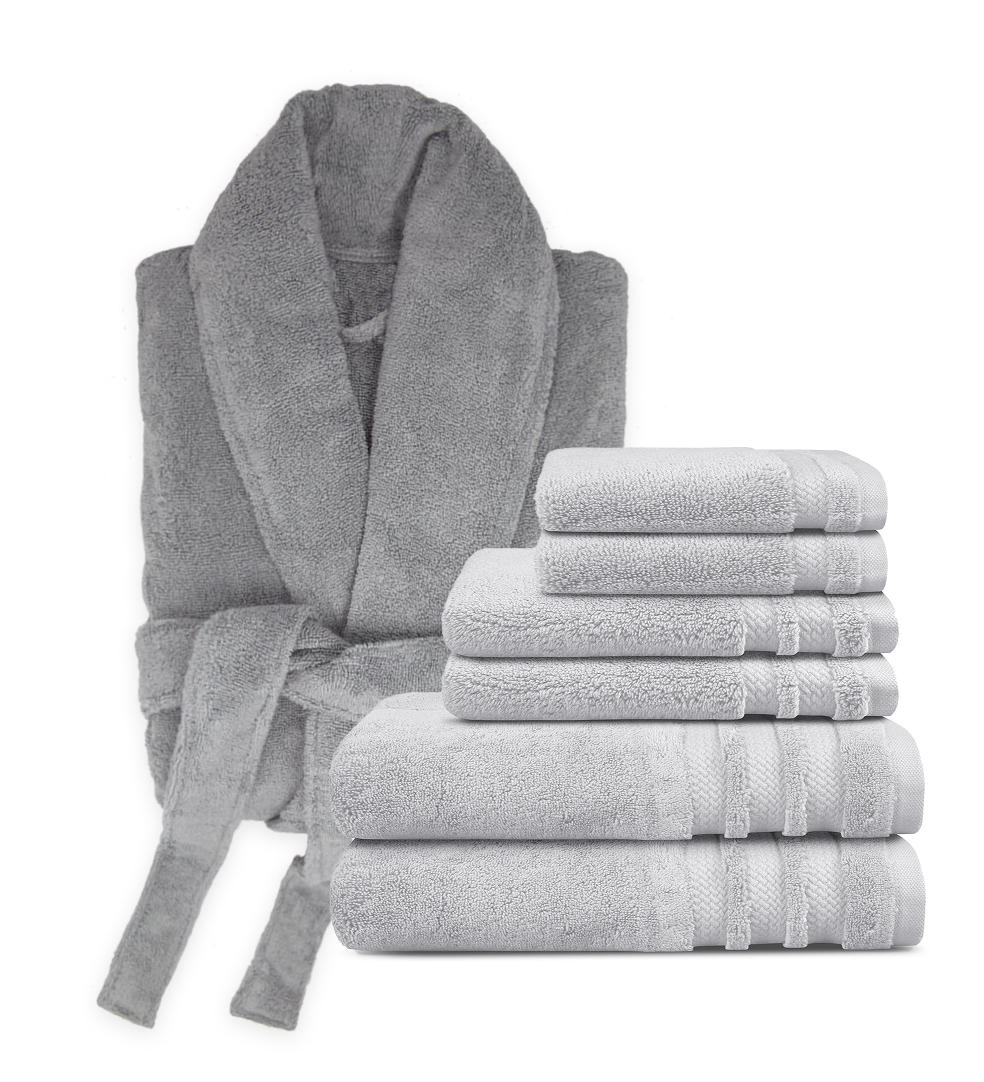 grey bathrobe with six grey towels folded and stacked next to it