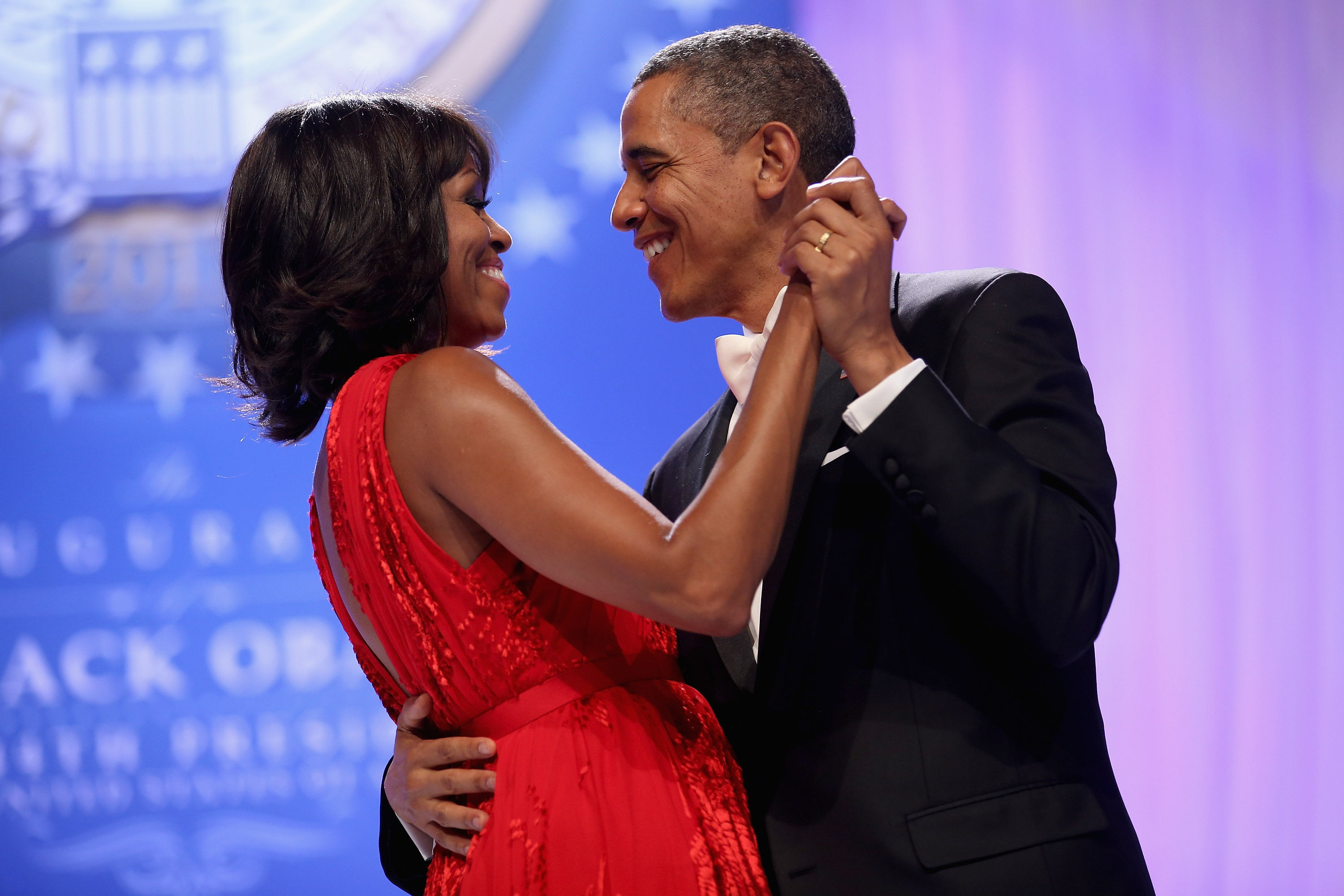 Barack and Michelle Obama dancing in fancy dress at an inauguration ball