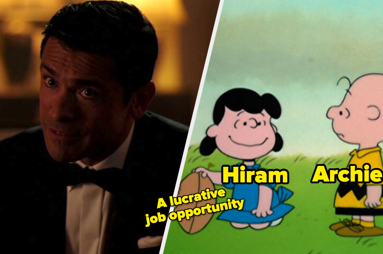 Hiram and a picture of Lucy and Charlie Brown with the football