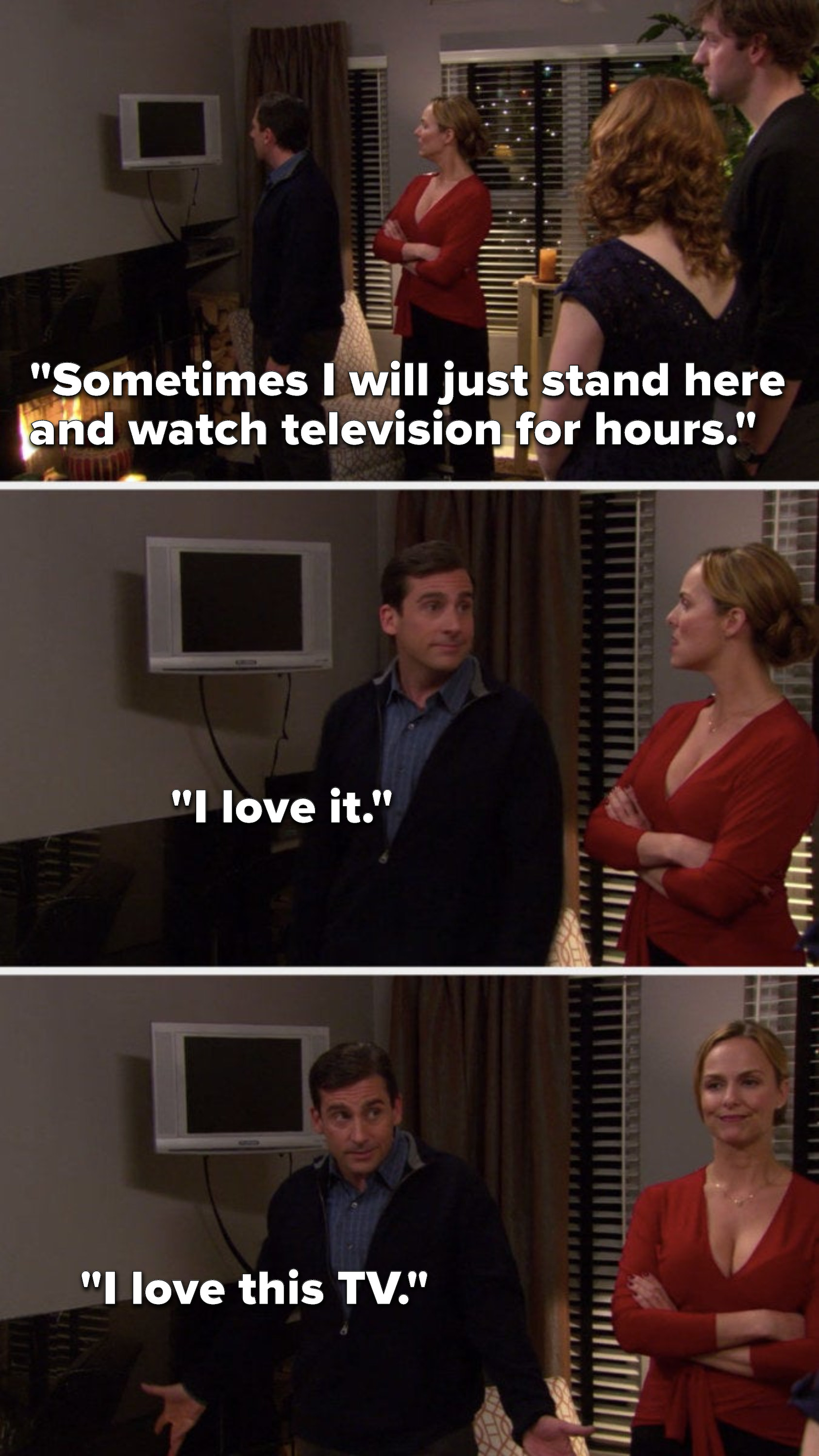 "Michael says, ""Sometimes I will just stand here and watch television for hours, I love it, I love this TV"""