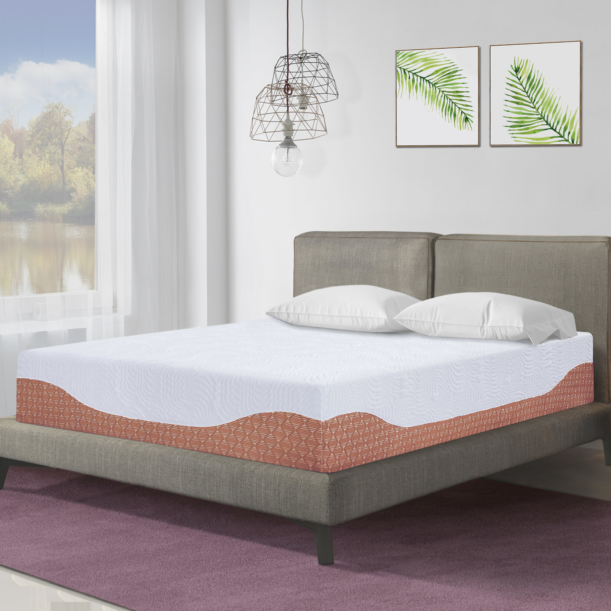 white and brown memory foam mattress on a gray frame and headboard