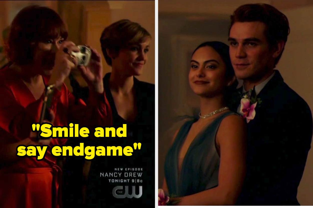 """Mary taking prom pics with the caption """"smile and say endgame"""""""