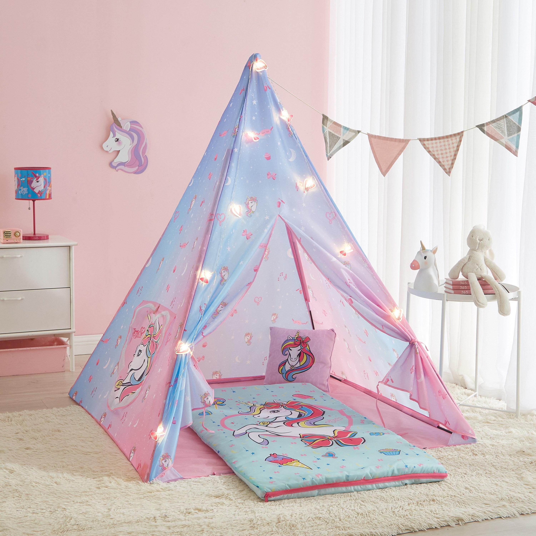 jojo siwa sleepover set (tent, sleeping bag, pillow, and string lights) with unicorns on it