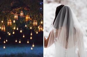 A tree full of glowing lanterns on the left and a bride staring out the window at a snowy scene on the right